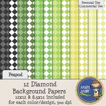 Digital Background Papers - Diamonds Peapod