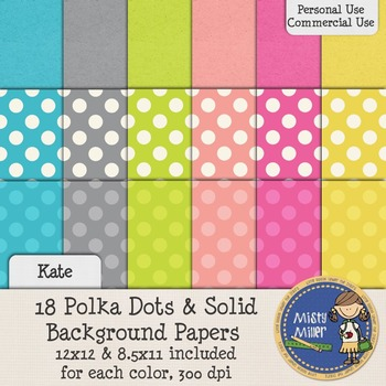 Digital Background Papers - Dots & Solids Kate