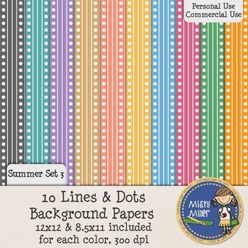 Digital Background Papers - Lines & Dots Summer 3