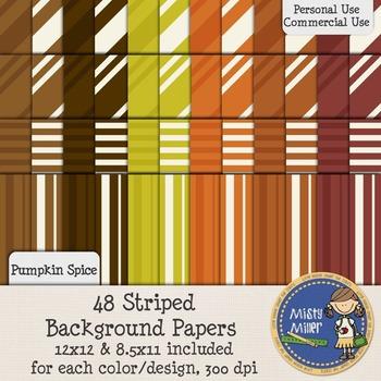 Digital Background Papers - Striped Pumpkin Spice