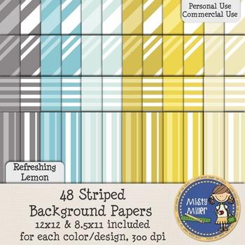 Digital Background Papers - Striped Refreshing Lemon