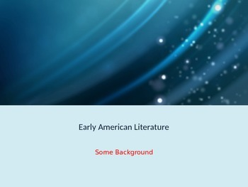 Background to Early American Literature