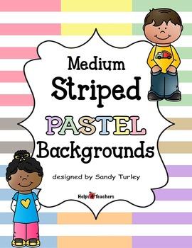 Backgrounds:  Stripes Medium PASTEL Colors