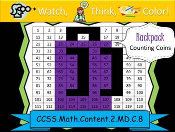 Backpack Counting Coins Practice - Watch, Think, Color Mys
