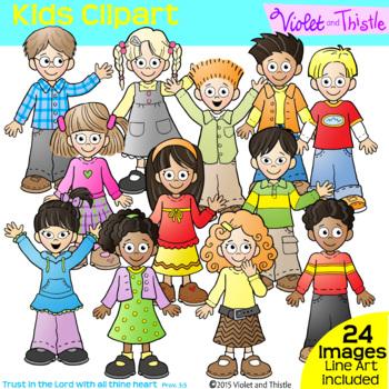 Backpack Kids Set 1 LINE +CLIPART BUNDLE Clip Art Kids Children