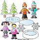 Backpack Kids Winter Activities Clipart LINE ART+CLIPART B