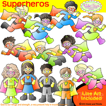 Backpack Kids Superheros CLIPART+LINE ART COMBO Superhero