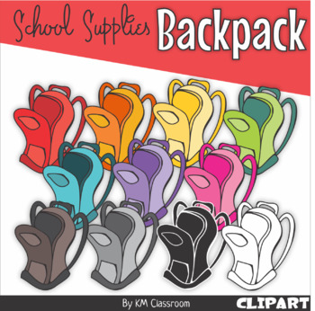 Backpack in Rainbow Colors - Clip Art