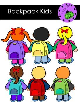 Backpack kids Clip Art