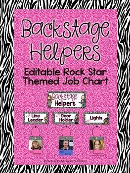 Backstage Helpers: EDITABLE Rock Star Job Chart