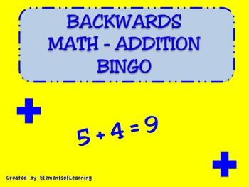 Backwards Addition Bingo
