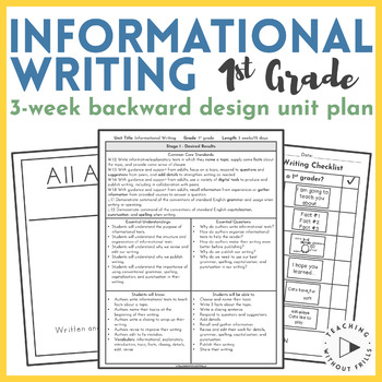 Backwards Design Unit Plan- Informational Writing {1st Gra