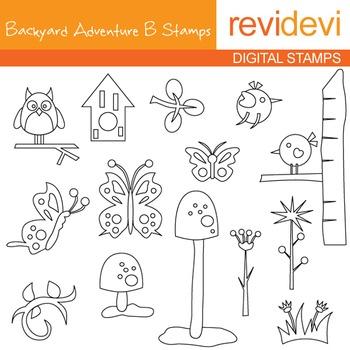 Backyard Adventure B blackline clip art - outline