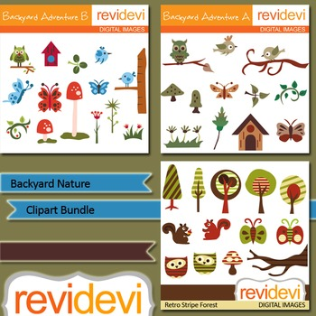 Backyard nature clip art bundle (3 packs) birds, trees, owls