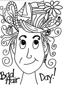 Bad Hair Day Coloring Sheet