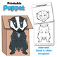 Badger Craft Activity | Paper Bag Puppet Template