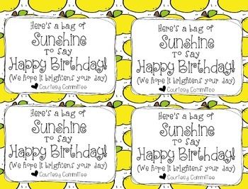 Bag of Sunshine Birthday Tags