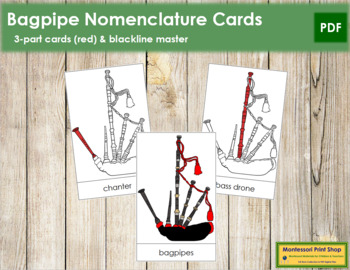 Bagpipes Nomenclature Cards (Red)