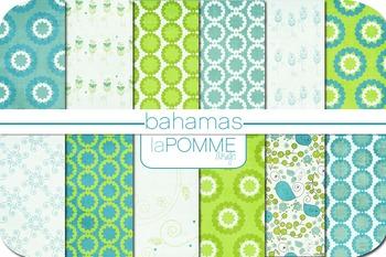 Bahamas Bright Summer Blues and Greens Digital Paper Pack