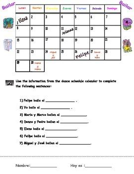 """""""Bailar"""" calendar fill-in activity"""