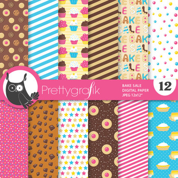 Bake sale papers, commercial use, scrapbook papers - PS826