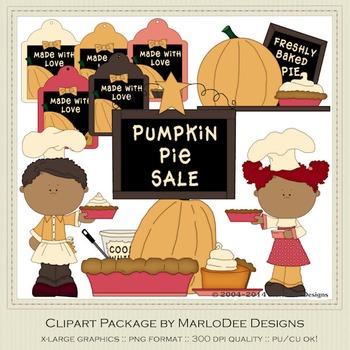 Baker Pumpkin Pie Thanksgiving Clip Art Graphics Set 2