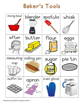 Baker's Themed Vocabulary Word Chart Writing Station {FREEBIE}