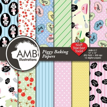 Digital Papers - Baking Day with little piglets paper and