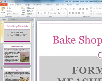 Baking Tools and Measures Power point