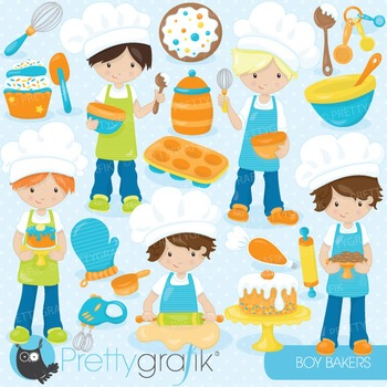 Baking boys clipart commercial use, vector graphics, digit