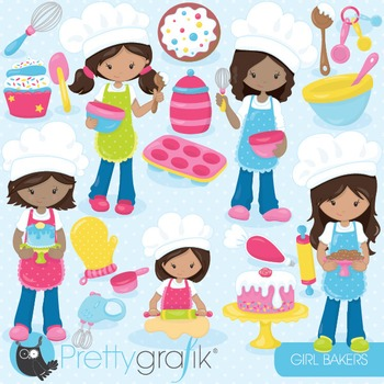 Baking girls clipart commercial use, vector graphics, digi
