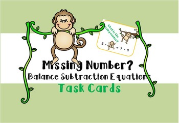 Balance Equation Task Cards - Subtraction Missing Subtrahend