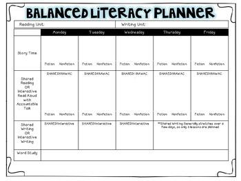 Balanced Literacy Planner