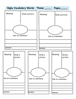 Balanced Literacy Rigby Vocabulary Words Journal Template