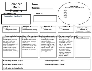 Balanced Math Workshop, planning template