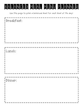 Balanced Meal Menu Planner
