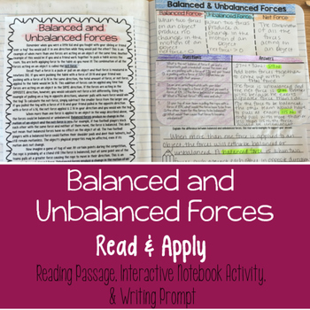 Balanced and Unbalanced Forces Reading Comprehension Inter