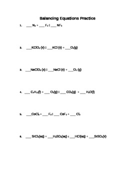 Worksheets Chemical Equations Worksheet balancing chemical equations practice worksheet by vicki snodgrass worksheet