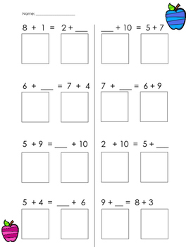 Balancing Equations - Addition - Common Core