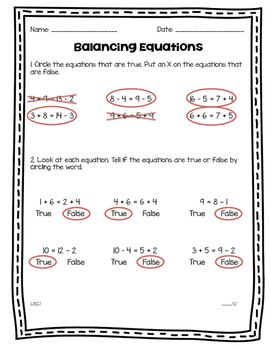 Balancing Equations Assessment 1.OA.7 and 1.OA.8