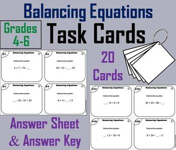 Balancing Equations Task Cards Activity - 4th Grade, 5th G
