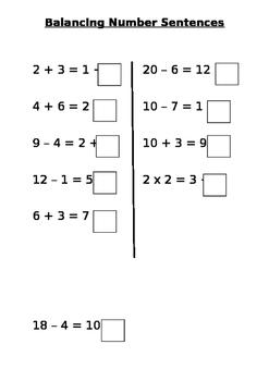 Balancing number sentences