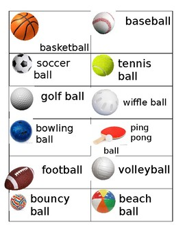 Ball Unit Word Cards
