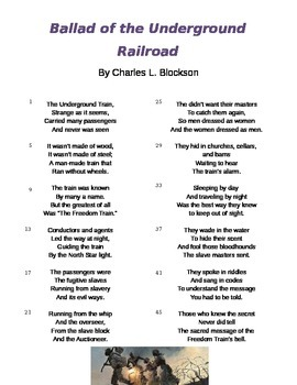 Ballad of the Underground Railroad Poem and Questions