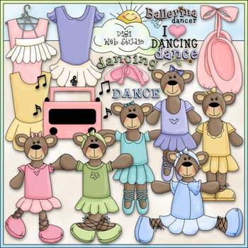 Ballerina Bears Clip Art - Dressed Up Bears - Dance Clip A