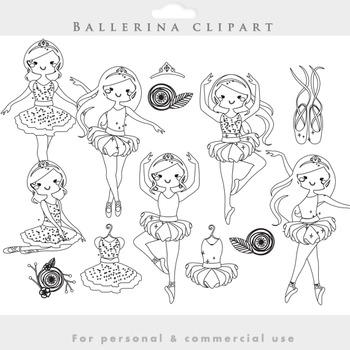 Ballerina lineart clipart - line drawing clip art ballet d