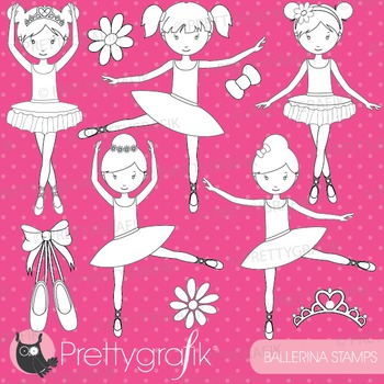 Ballerina dancers stamps commercial use, vector graphics,