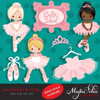 Ballerinas and Pink Tutu Clipart by MUJKA