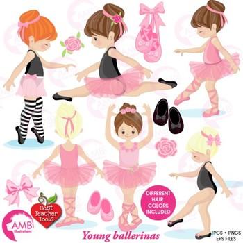 Ballet Clipart, Ballerina Clipart, Pink and Black Ballet C