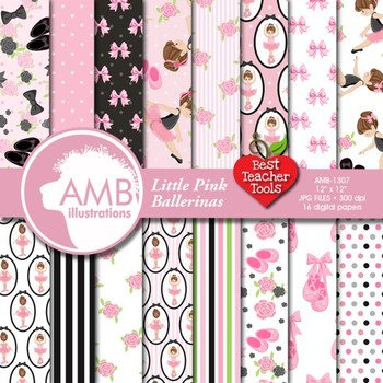 Ballet Digital Papers - Little Ballerina Papers and backgr